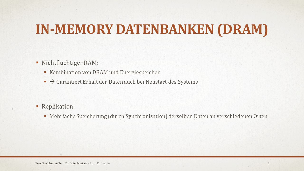 In-memory Datenbanken (DRAM)