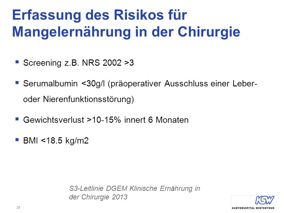 Erfassung des Risikos für Mangelernährung in der Chirurgie