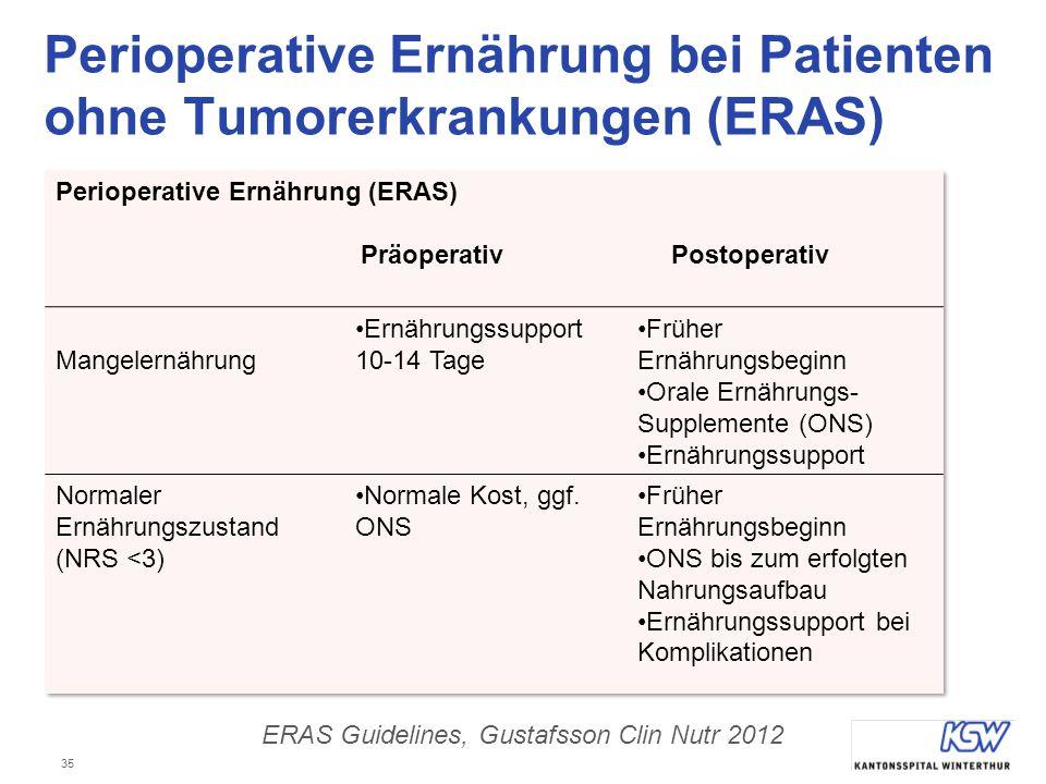 Perioperative Ernährung bei Patienten ohne Tumorerkrankungen (ERAS)