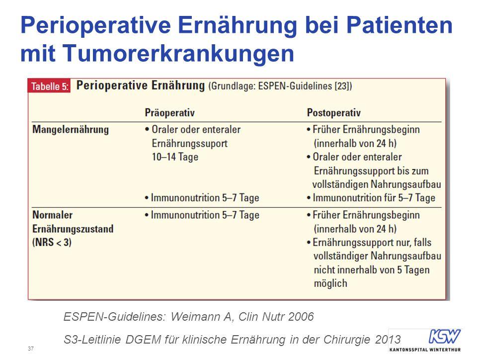 Perioperative Ernährung bei Patienten mit Tumorerkrankungen