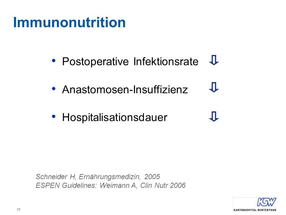 Immunonutrition Postoperative Infektionsrate Anastomosen-Insuffizienz