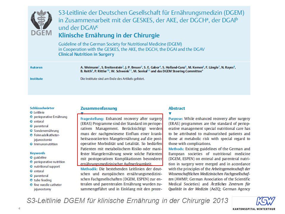 S3-Leitlinie DGEM für klinische Ernährung in der Chirurgie 2013