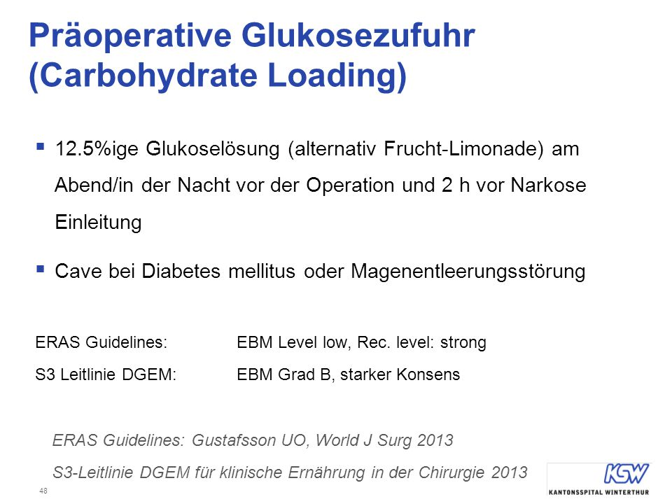 Präoperative Glukosezufuhr (Carbohydrate Loading)