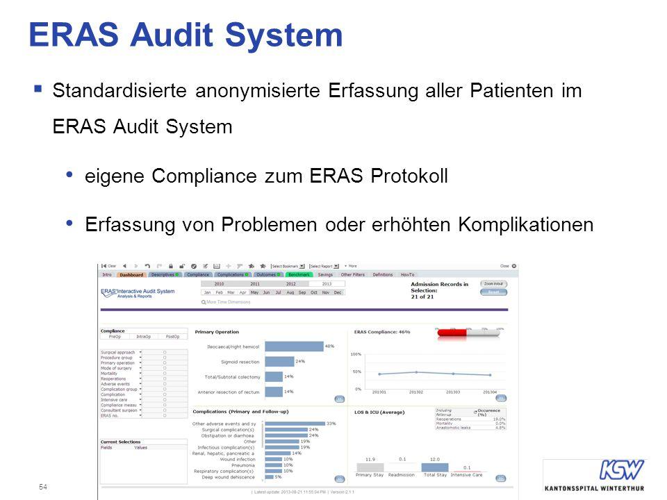 ERAS Audit System Standardisierte anonymisierte Erfassung aller Patienten im ERAS Audit System. eigene Compliance zum ERAS Protokoll.
