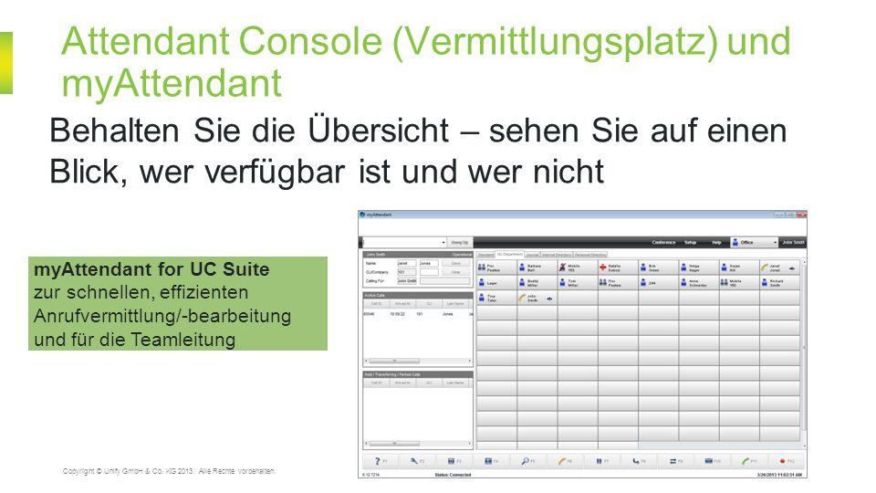 Attendant Console (Vermittlungsplatz) und myAttendant