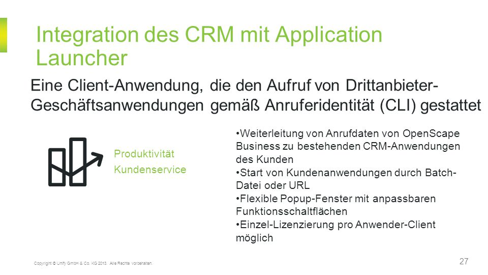 Integration des CRM mit Application Launcher