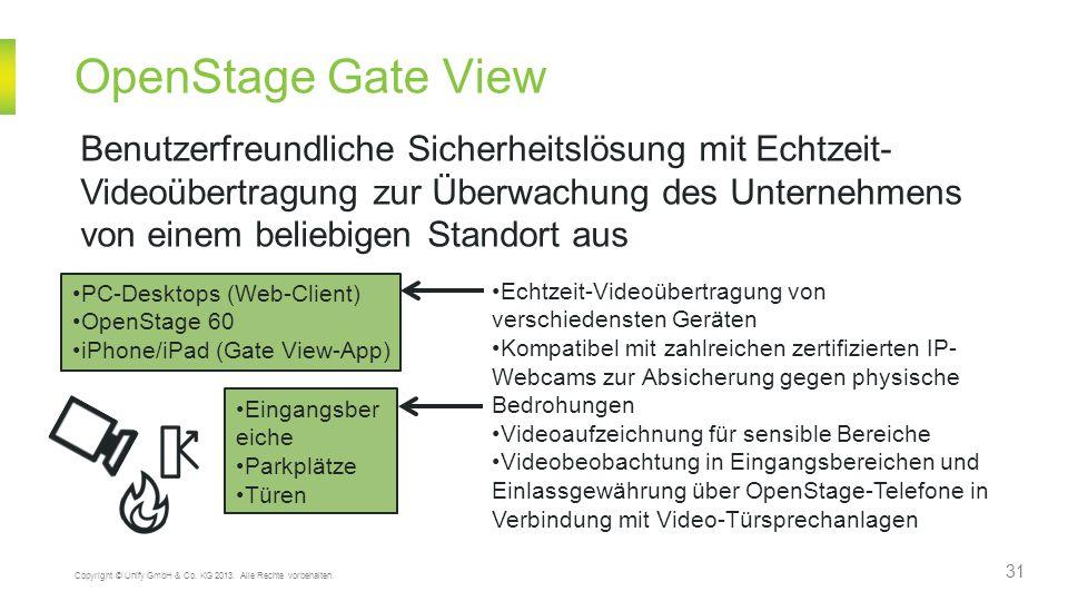 OpenStage Gate View Benutzerfreundliche Sicherheitslösung mit Echtzeit- Videoübertragung zur Überwachung des Unternehmens.