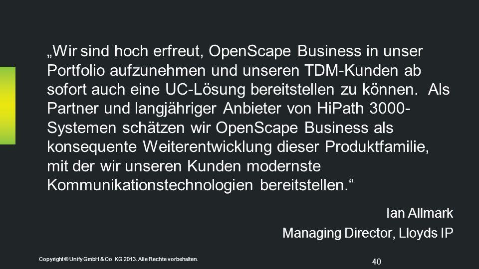 """""""Wir sind hoch erfreut, OpenScape Business in unser Portfolio aufzunehmen und unseren TDM-Kunden ab sofort auch eine UC-Lösung bereitstellen zu können. Als Partner und langjähriger Anbieter von HiPath 3000- Systemen schätzen wir OpenScape Business als konsequente Weiterentwicklung dieser Produktfamilie, mit der wir unseren Kunden modernste Kommunikationstechnologien bereitstellen."""