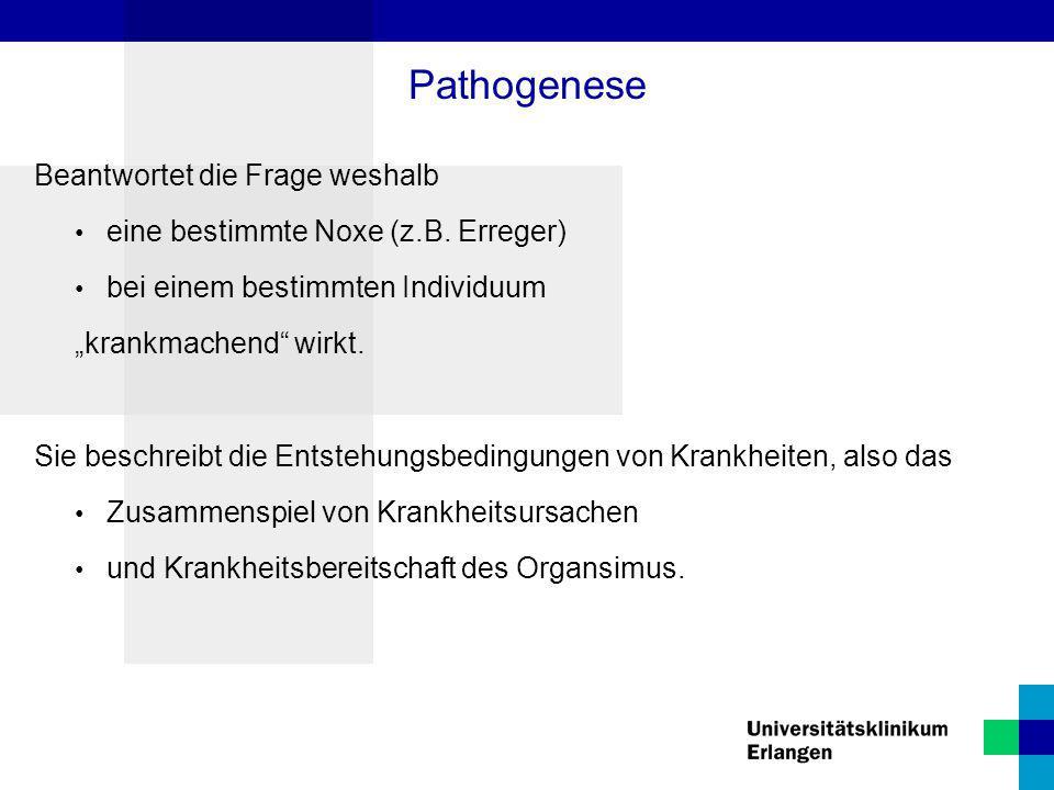 Pathogenese Beantwortet die Frage weshalb