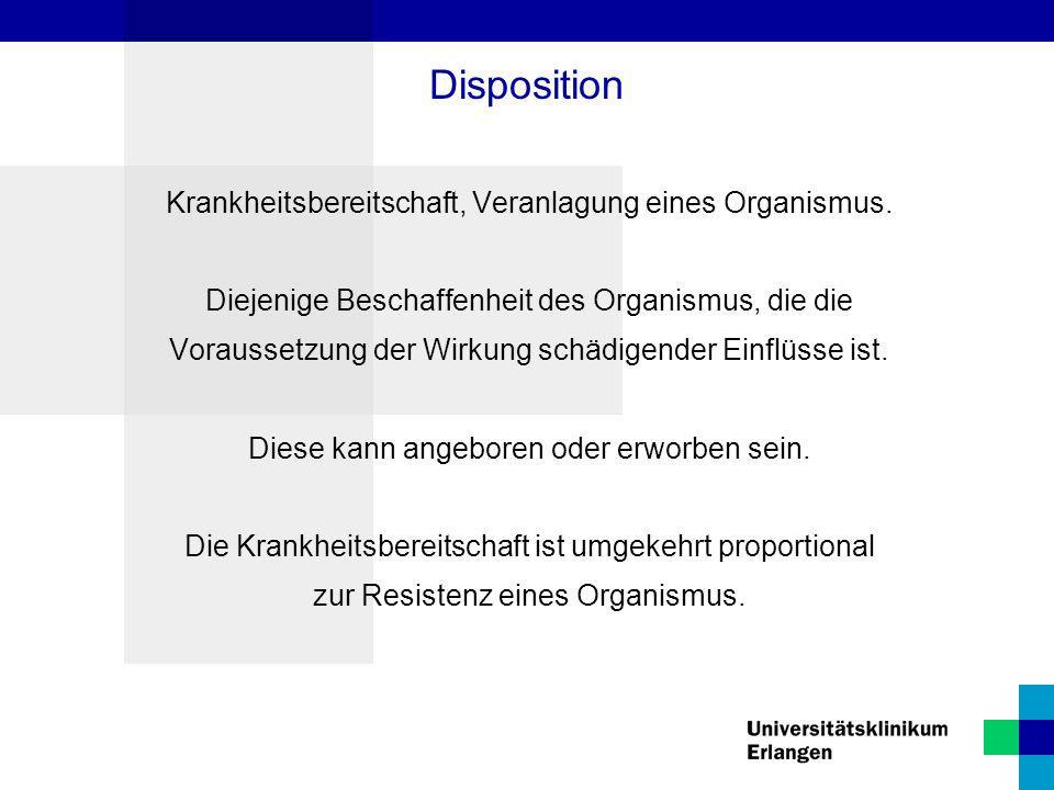 Disposition Krankheitsbereitschaft, Veranlagung eines Organismus.