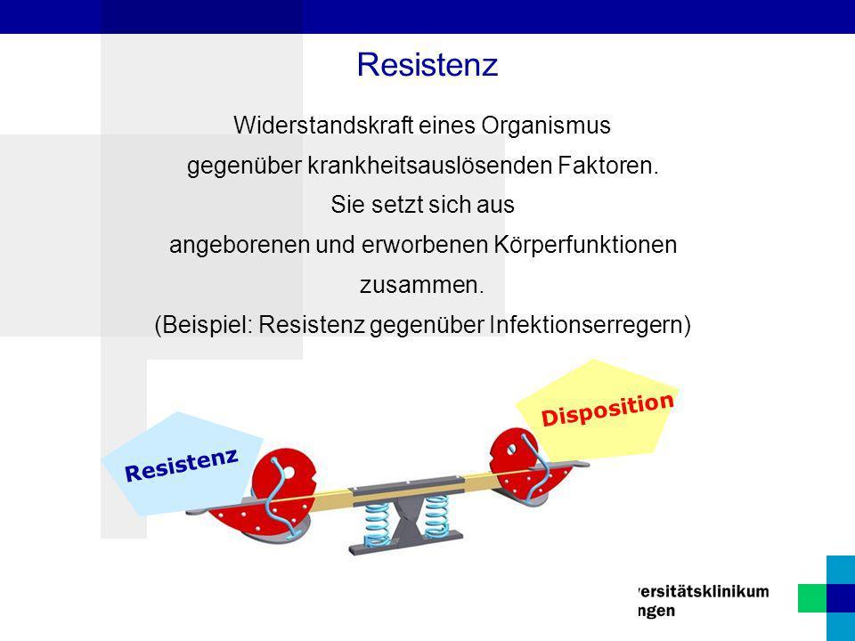 Resistenz Widerstandskraft eines Organismus