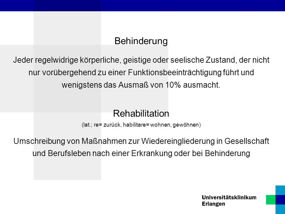 Rehabilitation (lat.; re= zurück, habilitare= wohnen, gewöhnen)