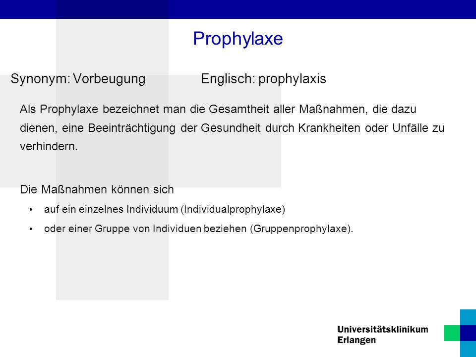 Prophylaxe Synonym: Vorbeugung Englisch: prophylaxis