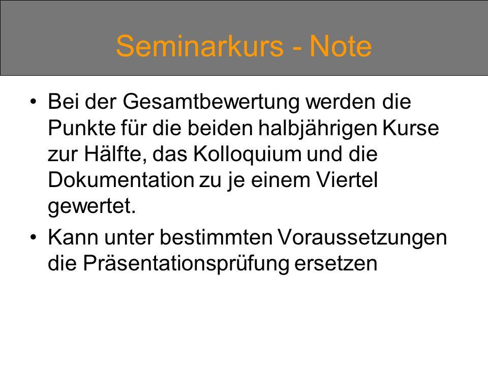 Seminarkurs - Note