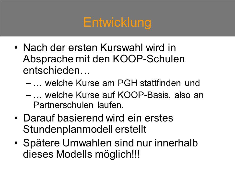 Entwicklung Nach der ersten Kurswahl wird in Absprache mit den KOOP-Schulen entschieden… … welche Kurse am PGH stattfinden und.