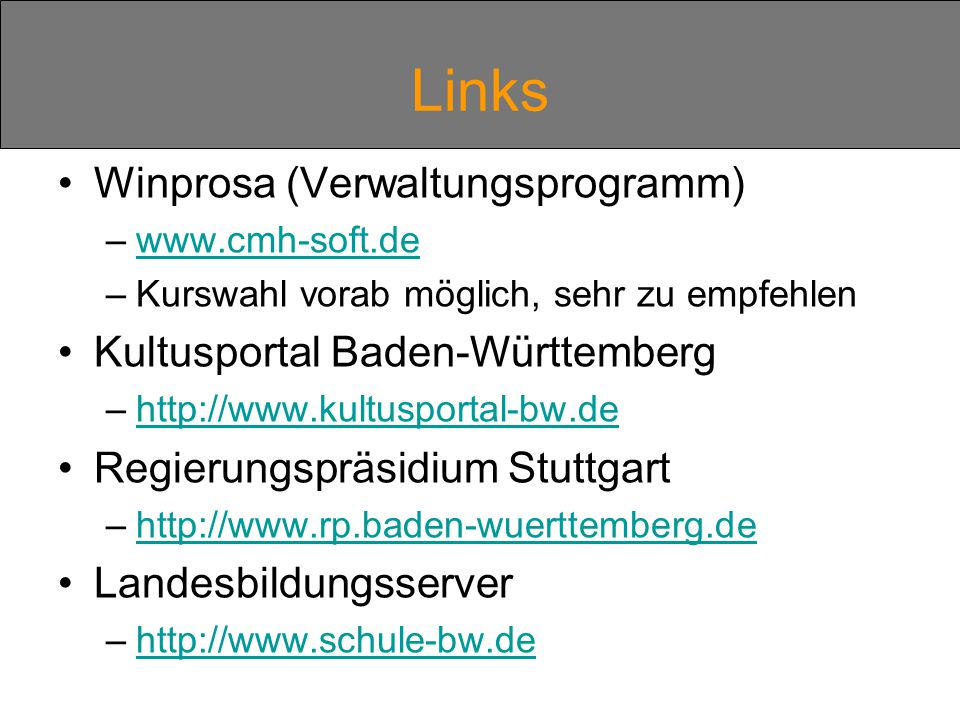 Links Winprosa (Verwaltungsprogramm) Kultusportal Baden-Württemberg