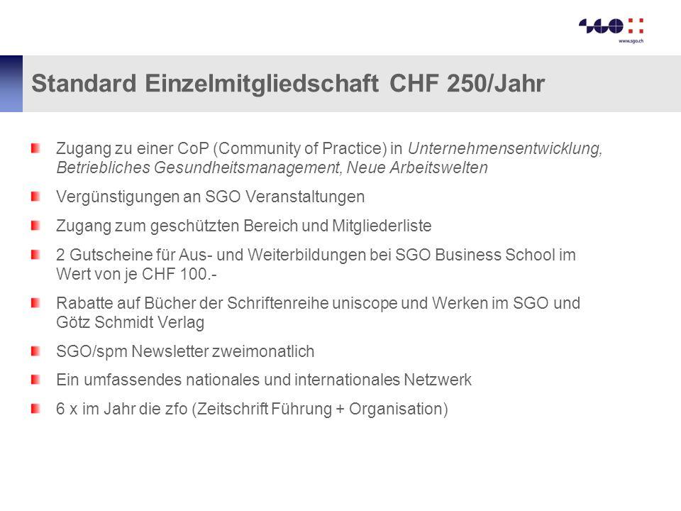 Standard Einzelmitgliedschaft CHF 250/Jahr