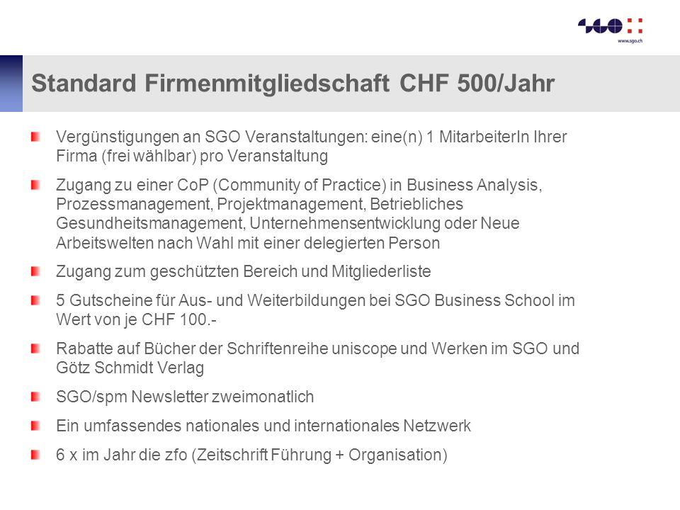 Standard Firmenmitgliedschaft CHF 500/Jahr