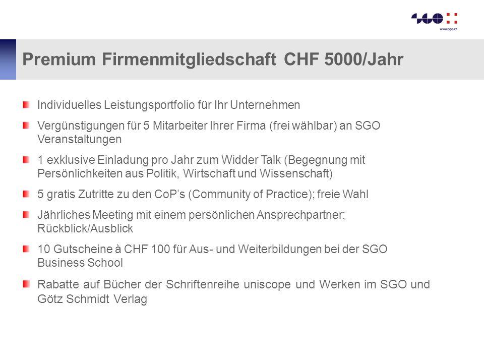Premium Firmenmitgliedschaft CHF 5000/Jahr