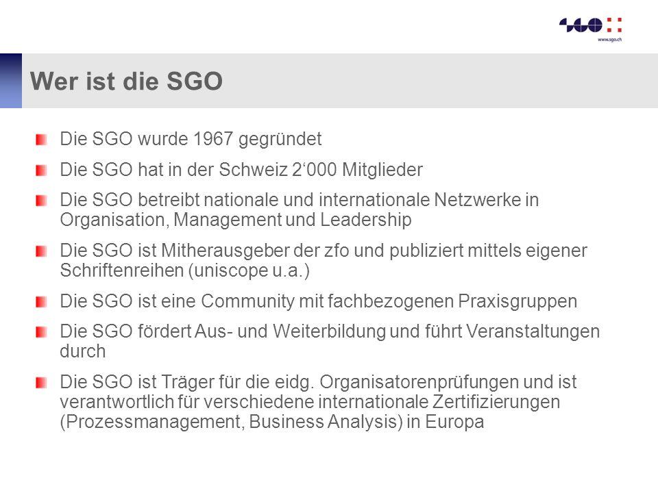 Wer ist die SGO Die SGO wurde 1967 gegründet