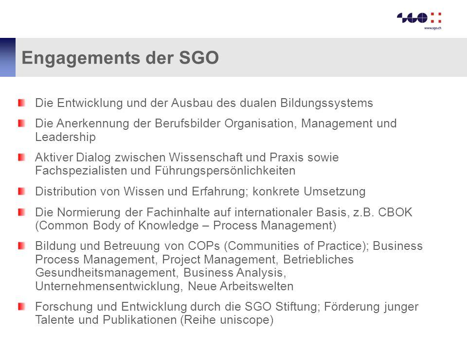 Engagements der SGO Die Entwicklung und der Ausbau des dualen Bildungssystems.