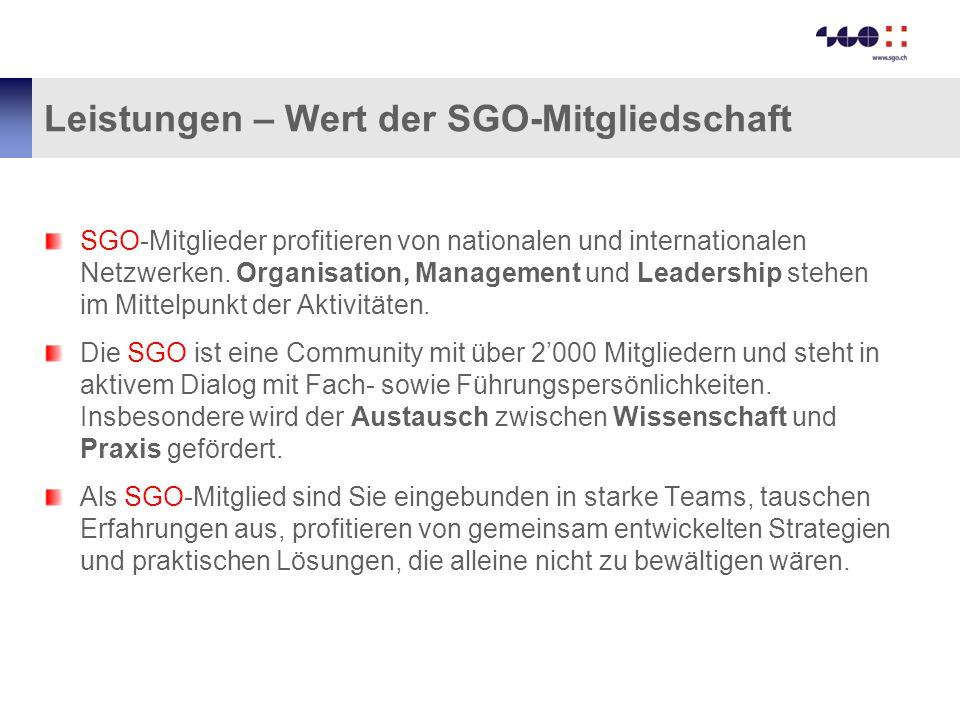 Leistungen – Wert der SGO-Mitgliedschaft