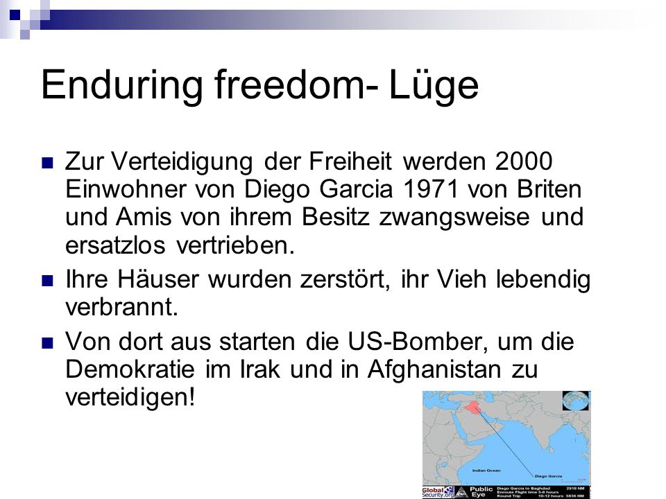 Enduring freedom- Lüge