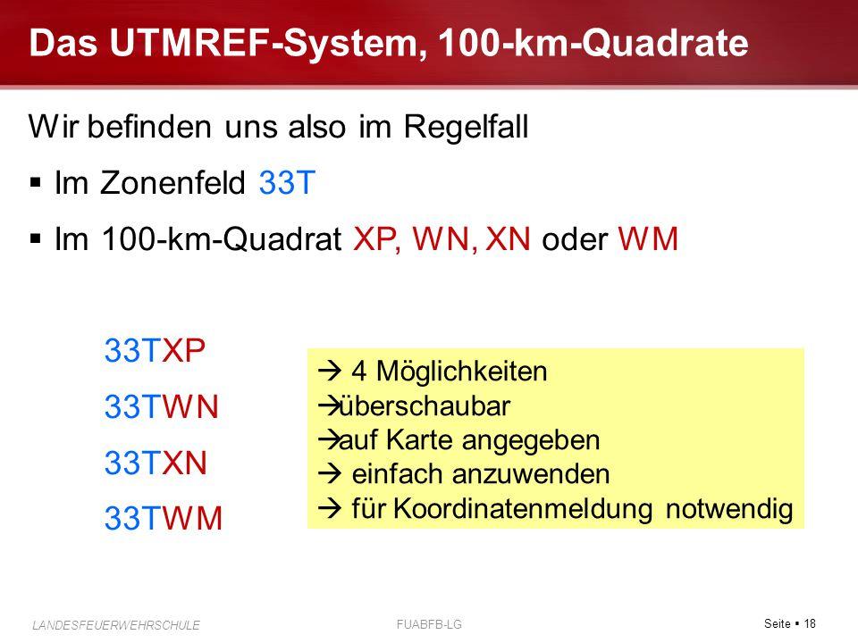Das UTMREF-System, 100-km-Quadrate