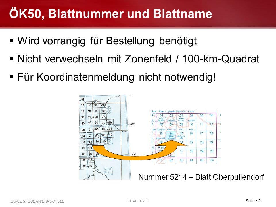ÖK50, Blattnummer und Blattname