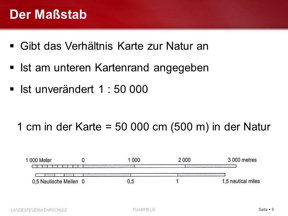 1 cm in der Karte = 50 000 cm (500 m) in der Natur