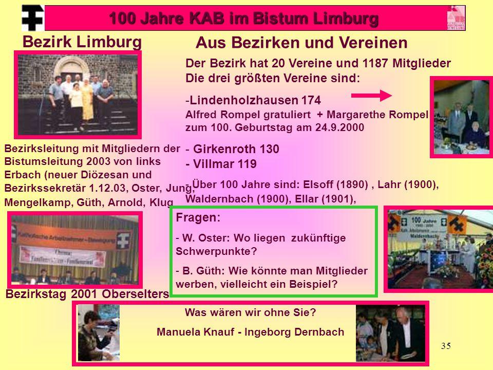 100 Jahre KAB im Bistum Limburg Aus Bezirken und Vereinen