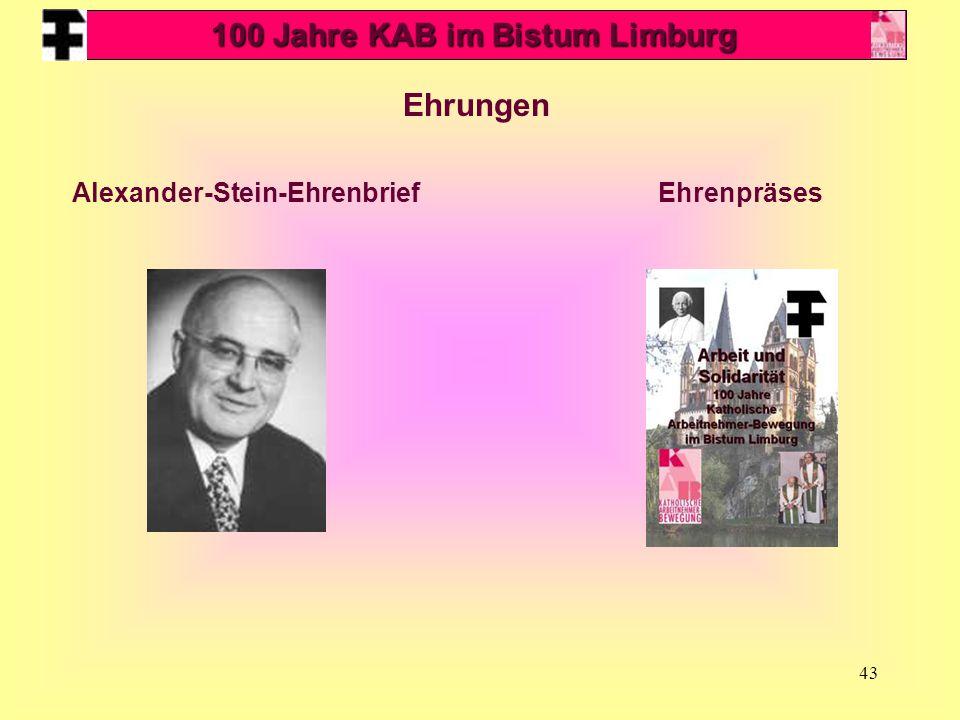 100 Jahre KAB im Bistum Limburg Alexander-Stein-Ehrenbrief
