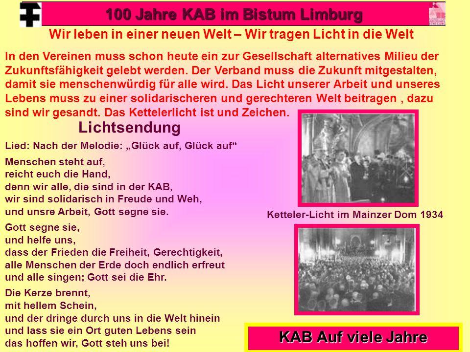 100 Jahre KAB im Bistum Limburg Lichtsendung KAB Auf viele Jahre