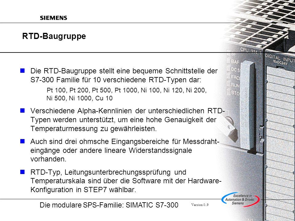 RTD-Baugruppe Die RTD-Baugruppe stellt eine bequeme Schnittstelle der S7-300 Familie für 10 verschiedene RTD-Typen dar: