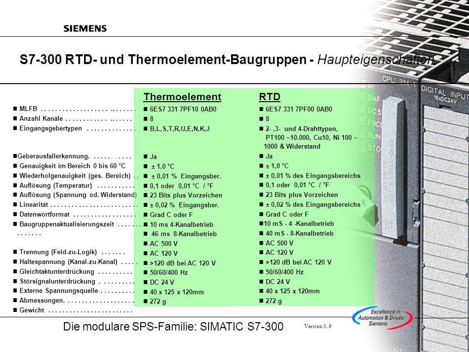 S7-300 RTD- und Thermoelement-Baugruppen - Haupteigenschaften