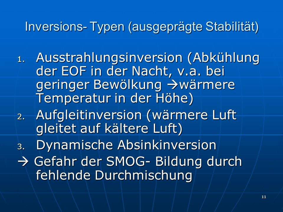 Inversions- Typen (ausgeprägte Stabilität)