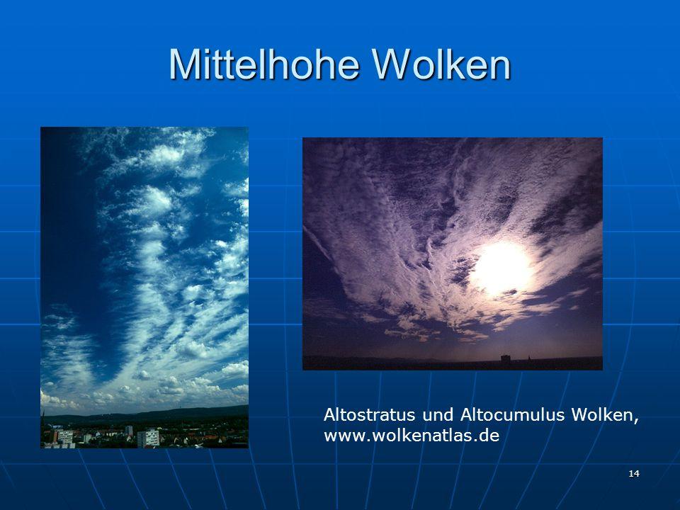 Mittelhohe Wolken Altostratus und Altocumulus Wolken,