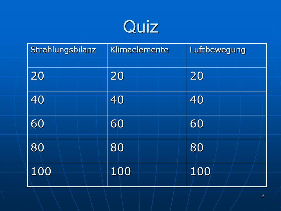Quiz Strahlungsbilanz Klimaelemente Luftbewegung 20 40 60 80 100