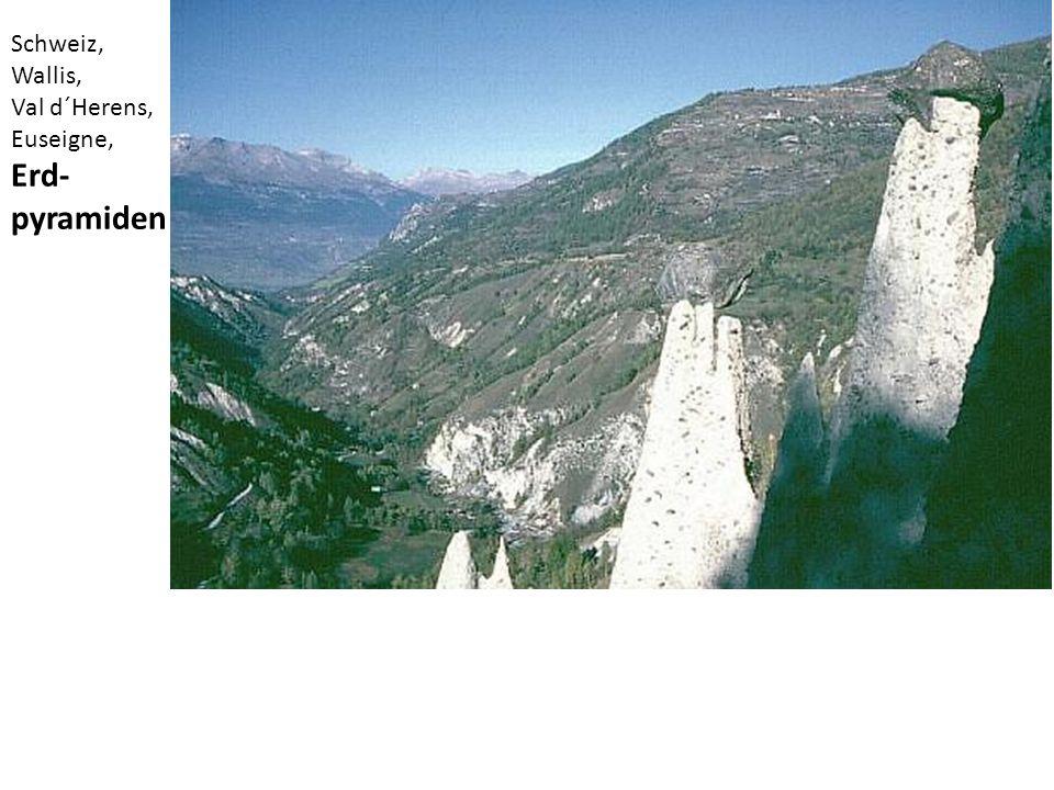 Schweiz, Wallis, Val d´Herens, Euseigne, Erd-pyramiden