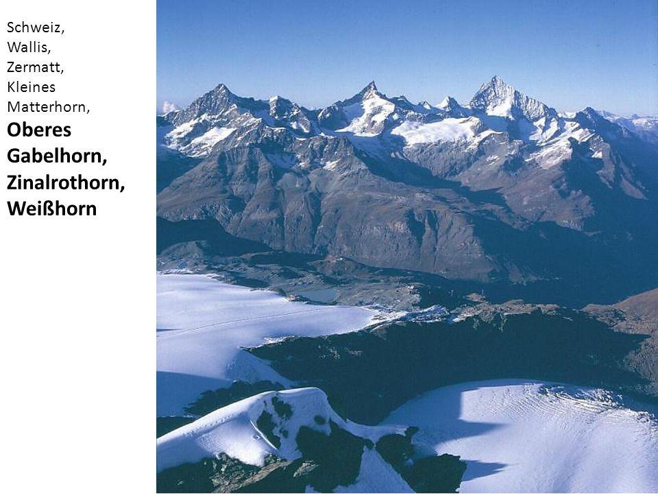 Oberes Gabelhorn, Zinalrothorn, Weißhorn Schweiz, Wallis, Zermatt,