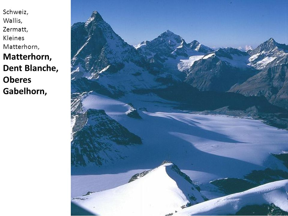 Matterhorn, Dent Blanche, Oberes Gabelhorn, Schweiz, Wallis, Zermatt,