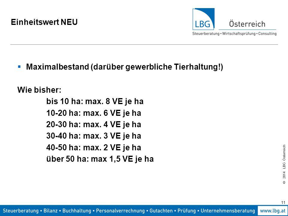 Einheitswert NEU Maximalbestand (darüber gewerbliche Tierhaltung!) Wie bisher: bis 10 ha: max. 8 VE je ha.