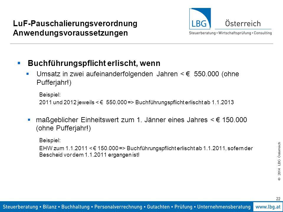 LuF-Pauschalierungsverordnung Anwendungsvoraussetzungen