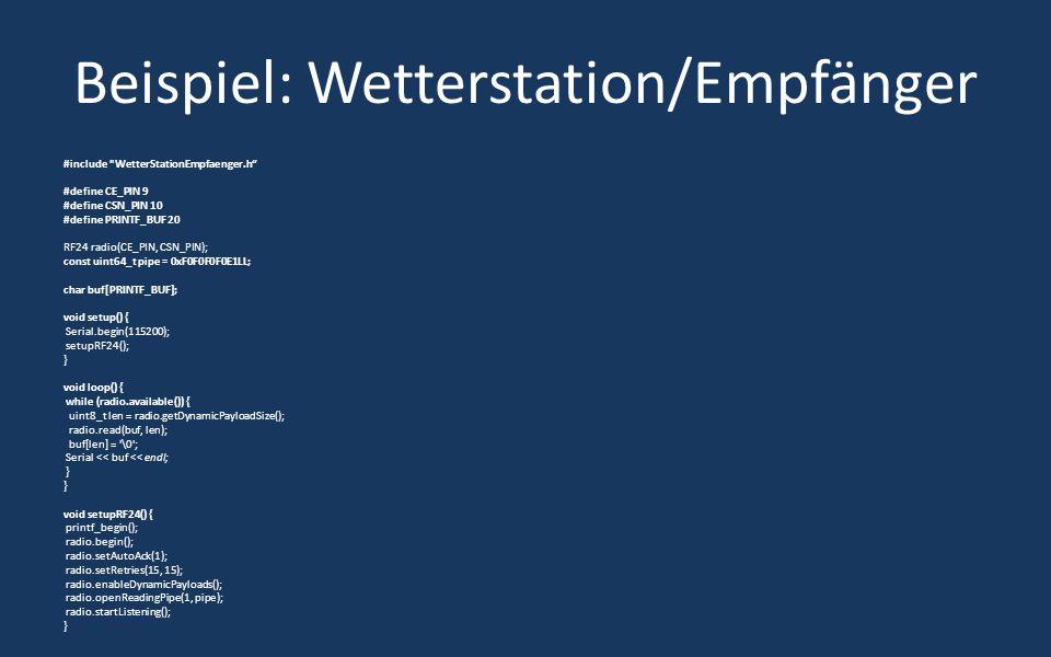 Beispiel: Wetterstation/Empfänger