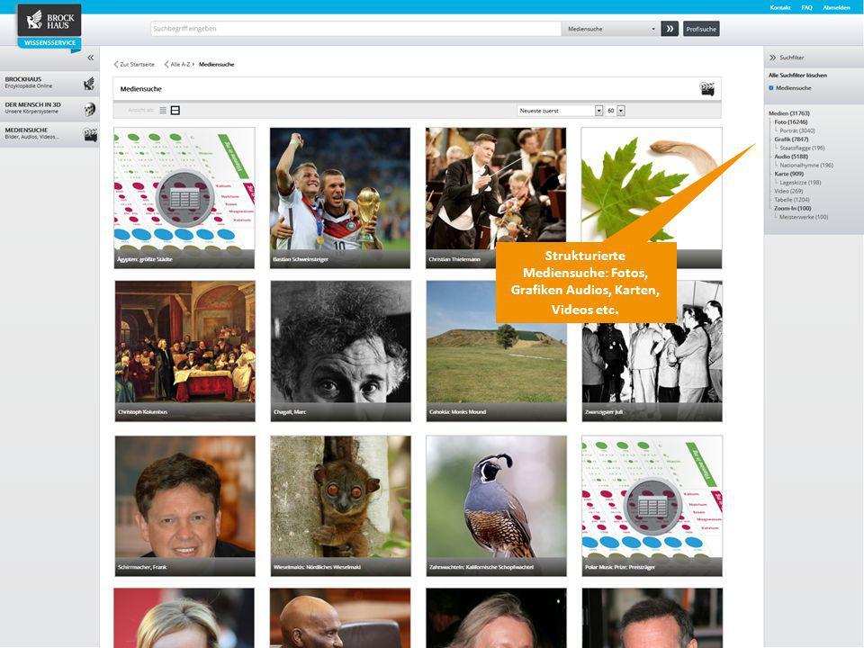Strukturierte Mediensuche: Fotos, Grafiken Audios, Karten, Videos etc.
