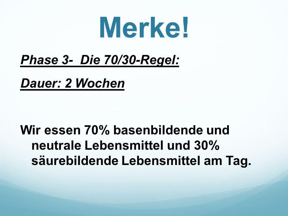 Merke! Phase 3- Die 70/30-Regel: Dauer: 2 Wochen