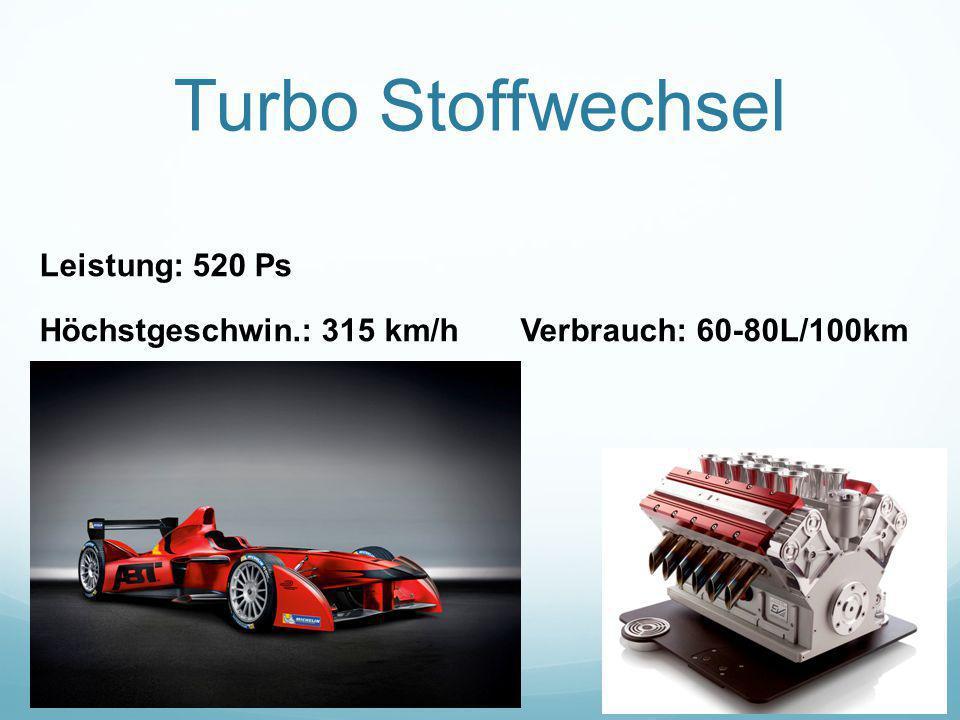 Turbo Stoffwechsel Leistung: 520 Ps Höchstgeschwin.: 315 km/h Verbrauch: 60-80L/100km