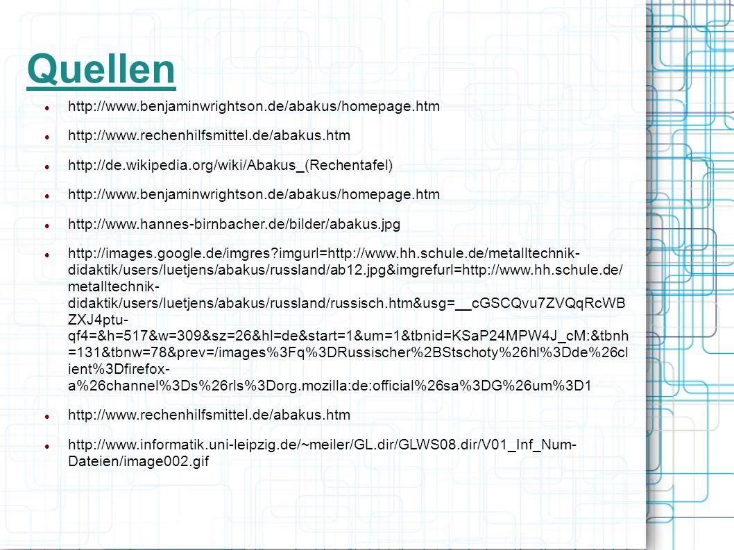 Quellen http://www.benjaminwrightson.de/abakus/homepage.htm