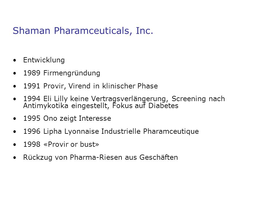 Shaman Pharamceuticals, Inc.