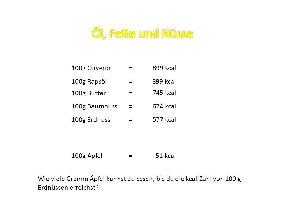 Öl, Fette und Nüsse 100g Olivenöl = 899 kcal 100g Rapsöl = 899 kcal